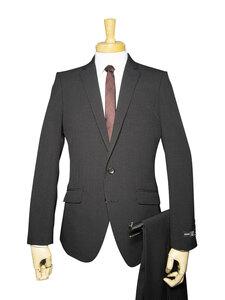 22134-21-AB4 春夏 洗える ストレッチ スーツ 2ツボタン ノータック 超スリム 黒 ブラック 格子 メンズ ビジネス