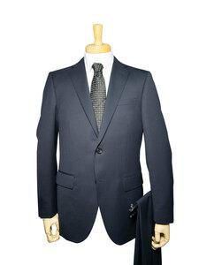 10470-21-A5 秋冬 ウール混 スーツ 2ツボタン ノータック スリム 洗えるパンツ 紺 ネイビー ストライプ メンズ ビジネス
