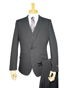 12137-13-AB4 秋冬 洗える ストレッチ スリーピース スーツ 2ツボタン ノータック 超スリム チャコール 黒 ストライプ メンズ ビジネス