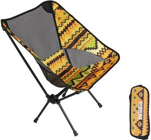 . Pufier 黄 携帯便利 登山 お釣り 収納袋付属 イス椅子 パクト キャンプ椅 折りたたみ アウトドアチェア 276