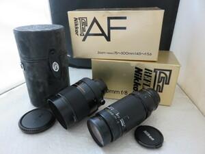 827☆ニコン Nikon NIKKOR 75-300mm 4.5-5.6/REFLEX 500mm 1:8 ジャンク扱 カメラ レンズ 1円~