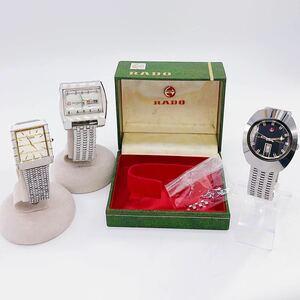 【稼働品含む★RADO★3点セット】KX-6 ラドー 腕時計 QZ クォーツ AT 自動巻き マンハッタン ダイアスター デイト カレンダー SS スクエア