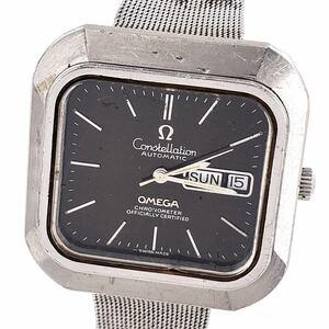 【OMEGA★コンステレーション】KX-23 オメガ 腕時計 自動巻 クロノメーター デイデイト スクエア メンズ ブランド ウォッチ 黒 文字盤