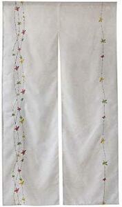 麻花刺繍 幅85㎝x150㎝丈 WEMAY 麻のれん ロング刺繍入り85㎝幅x150㎝丈ナチュラル