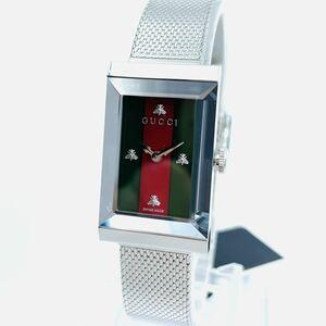 美品エレガント!グッチ Gフレーム クォーツ グリーン レッドウェブ レディース腕時計【定価13万円】GUCCI G-Frame Quartz Ladies Watch
