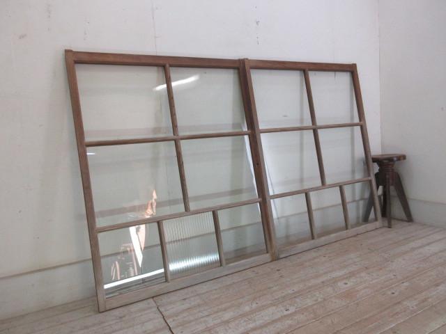 古い木味モールガラスの窓2枚組B230    アンティーク建具引き戸扉ドア戸窓玄関店舗什器カフェ什器無垢材古家具