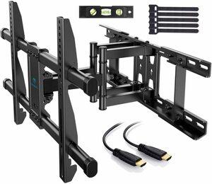 [新品/送料無料] PERLESMITH テレビ壁掛け金具 大型 37-70インチ対応 アーム式 耐荷重60kg 多角度調節可能 VESA600x400mm HDMIケーブル付