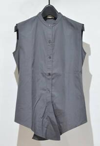 国内正規 HERMES エルメス マルジェラ期 ノースリーブ バンドカラー シャツ トップス グレー系 34 Y-25846B