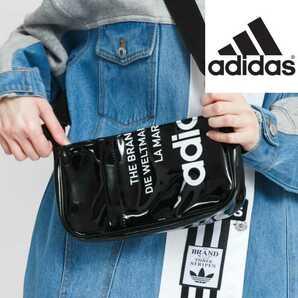エナメル★新品★アディダス ボディバッグ ブラック★黒 adidas ショルダーバッグ ウエストバッグ ウエストポーチ オリジナルス GN4450