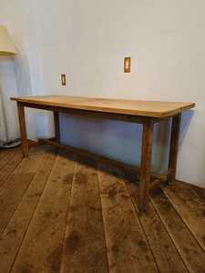 ビンテージ 木製 作業テーブル DE-074/作業台 レトロ 古道具 古家具 ワークデスク ワークショップ 陳列棚 カフェ 店舗什器