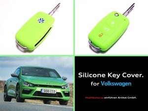 ◆ 【希少】【送料120円~】 VW シリコン キーカバー ケース 【黄緑】 ◆ up! ポロ ゴルフ ビートル トゥーラン シロッコ VW車に広く対応