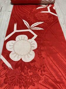 M 728 正絹 長襦袢 ハギレ アンティーク 赤 洗い張り済 古布 はぎれ