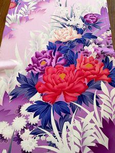 正絹 振袖 四季の花 暈し染 袖ハギレ