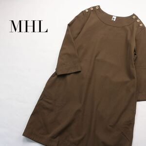 【送料無料】MHL / 七分袖 ウール混 こっくり秋色 ワンピース マーガレットハウエル Aラインワンピース ブラウン 膝丈