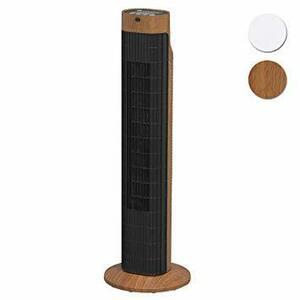 2)木目 アイリスオーヤマ 扇風機 タワーファン スリム 左右自動首振り リモコン付き パワフル送風 風量3段階 タイマー付き