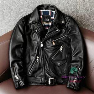 ●ライダースジャケット 本革 バイクレザー レザージャケット 機関車 ハーレー カウハイド 牛革 革ジャン メンズファッション S~4XL