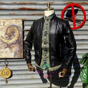 ●レザージャケット シングルジャケット カウハイド 本革 バイクレザー 革ジャン 牛革 メンズファッション ライダースジャケット S~4XL