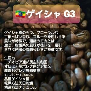 自家焙煎屋 コーヒー豆 エチオピアゲイシャG3 300g 簡易包装