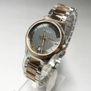【大人気】GUCCIグッチ G-タイムレス シルバー ローズゴールド レディース腕時計 定価12万円 クォーツ 高級腕時計