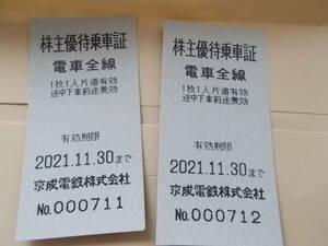 ◆京成電鉄株主優待乗車券 1枚 有効期限11月30日まで有効◆  複数あり