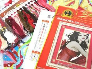 刺繍キット 美しい女性 美人絵画 大判クロスステッチ 布サイズ約58x45cm 簡単 中国刺繍キット ハンドメイド 手作り DIY 新品 送料無料