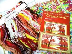 刺繍キット 秋の紅葉 もみじ 風景 大判クロスステッチ 布サイズ約72x102cm 簡単 中国刺繍キット ハンドメイド 手作り DIY 新品 送料無料