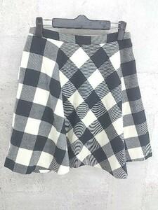 ◇ UNITED ARROWS ユナイテッドアローズ チェック 膝丈 フレア スカート 38 アイボリー ブラック * 1002799137874