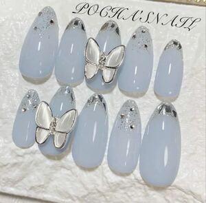 ガラスフレンチ ラメ 蝶々  ネイルチップ