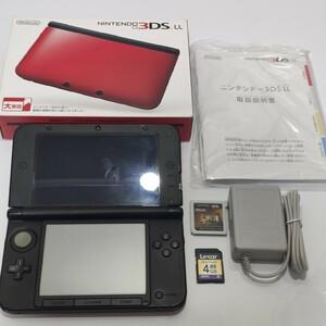 ニンテンドー3DSLL レッド×ブラック 箱あり ソフト MH4 SDカード 4GB 充電器付