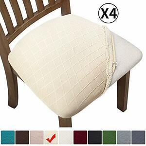 新品色クリーム Fuloon 座面カバー チェアカバー 椅子カバー 4枚 伸縮素材 耐久性 家庭 ホテル ウェディンXWVV