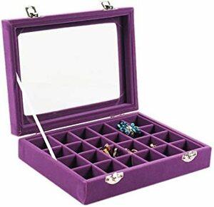 紫 SPIEA 24区画 アクセサリーボックス ベルベット調 ジュエリ[ケース 耳飾り ピアス 指輪 ディスプレイ収納ケース (