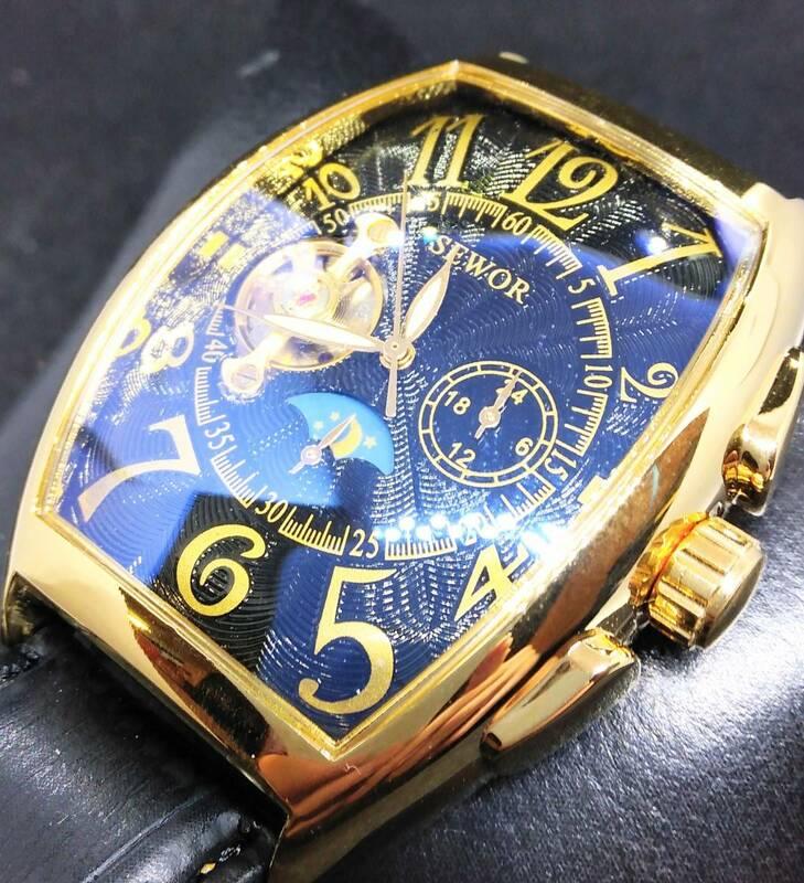 機械式自動巻き腕時計 ブラックフェイス ゴールドフレーム ブラックバンド SEWOR オマージュウォッチ 世界中で大人気 新品 国内発送