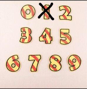 4枚入 数字番号 野球背番号刺繍アイロンワッペンワッペン アップリケ ワッペン 刺繍
