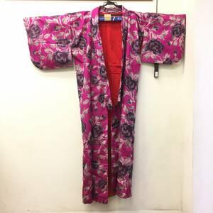 着物 華やか 花 フラワー ジャンクレベル 赤紫色系 和装 和服