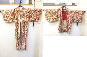 着物と羽織のセット 花 フラワー 和柄 ジャンクレベル 可愛い コスプレや仮装などにも 和風