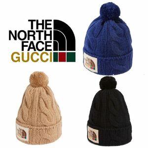 ★Gucci NorthFace★グッチノースフェイスコラボ正規21秋新作ロゴニット帽3色男女兼用