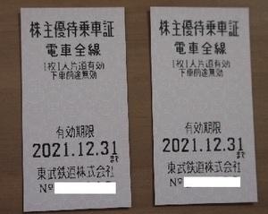 ☆☆東武鉄道株主優待乗車証4枚セット送料込☆☆(2021年12月31日まで)