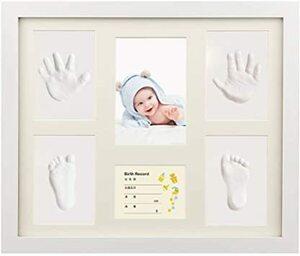 新品ホワイト iSiLER ベビーフレーム 手形 足形 フォトフレーム 置き掛け兼用 無毒で安全 赤ちゃん 出産祝いZI60