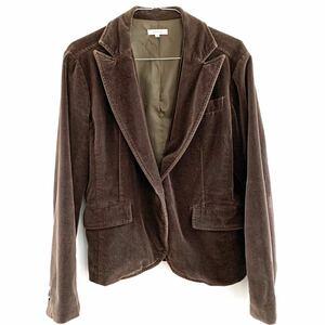 jean-cox テーラードジャケット ベロアジャケット ブラウン 茶色 起毛 レディース クロップド丈 ヴィンテージ 古着