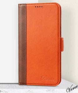 オレンジ×ブラウン 手帳型ケース iPhone 12 / Pro 6.1インチ 高級感のある質感 馴染む柔らかさ スタンド機能あり 耐衝撃 カバー 収納