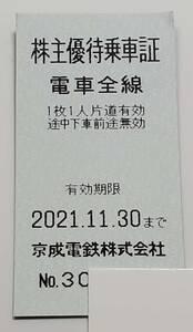 京成電鉄 株主優待乗車証 乗車券  有効期限2021年11月30日です