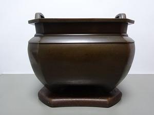 ★☆★宣徳火鉢、銅製、素紋立取、瓶掛、火鉢、8.9kg★☆★