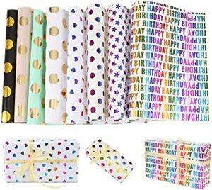 Marsviex ラッピングペーパー 包装紙 背景紙 カラフル ブロンズ ギフト/花/本 スクラップブッキング 大判 和紙 折り