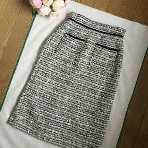 ★新品★未使用【トッコクローゼット】ベロアおリボン付きツィードスカート☆グレー×ネイビー