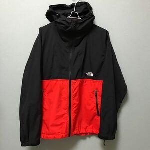 人気色 ノースフェイス コンパクトジャケット メンズM ブラック×レッド  マウンテンパーカー ナイロンジャケット コンパクト