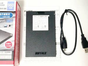 送料安 BUFFALOバッファロー ケース使用 USB3.1(3.0)SATA 外付けポータブルハードディスク 500GB HDD 2.5インチ SSD-PG960U3-BAケース使用