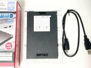 送料安 BUFFALOバッファロー ケース使用 USB3.1(3.0)SATA 外付けポータブルハードディスク500GB HDD 2.5インチ SSD-PG960U3-BAケース使用