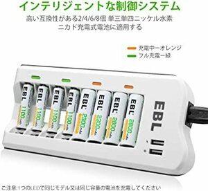 限定価格!充電器単体 EBL 電池充電器 8スロット 単三単四ニッケル水素/ニカド充電池に対応 単3単4電池充電器 USBE9Y0