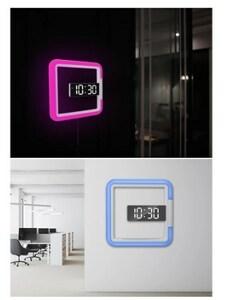 3d ledデジタル壁掛け時計,目覚まし時計,中空ミラー,7色,温度,常夜灯,家の装飾,リビングルーム