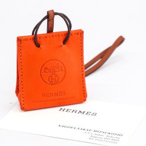 【1円/人気】エルメス HERMES サック オランジュ ショッパー型 バッグチャーム アニューミロ Y刻 ラムスキン フー オレンジ ブランド小物